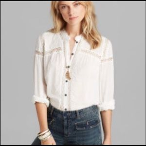 Free People White Lace Button Down Tunic Blouse